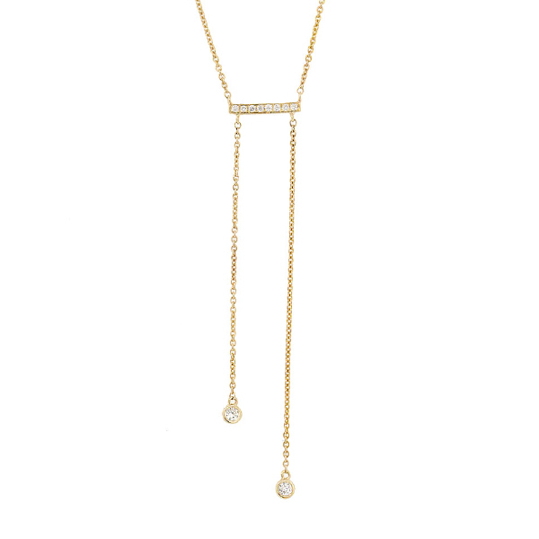 0.15ct 14k Yellow Gold Diamond Bar Lariat Necklace