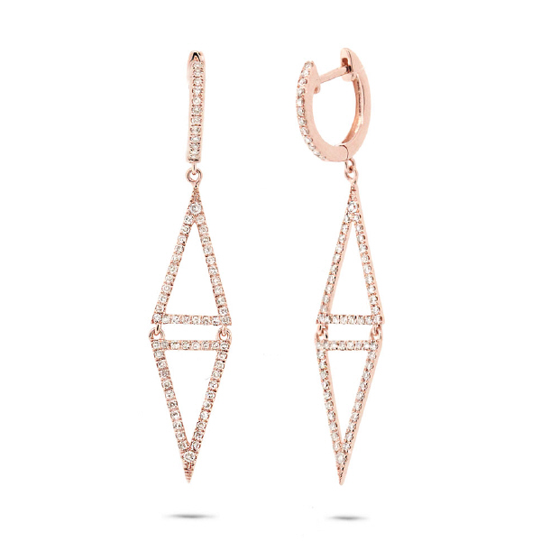 0.49ct 14k Rose Gold Diamond Triangle Earrings