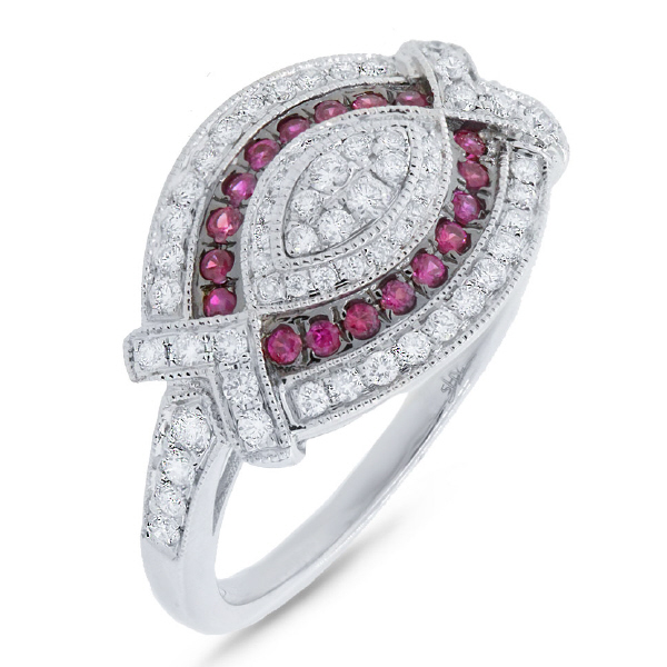 0.45ct Diamond & 0.19ct Ruby 14k White Gold Ring