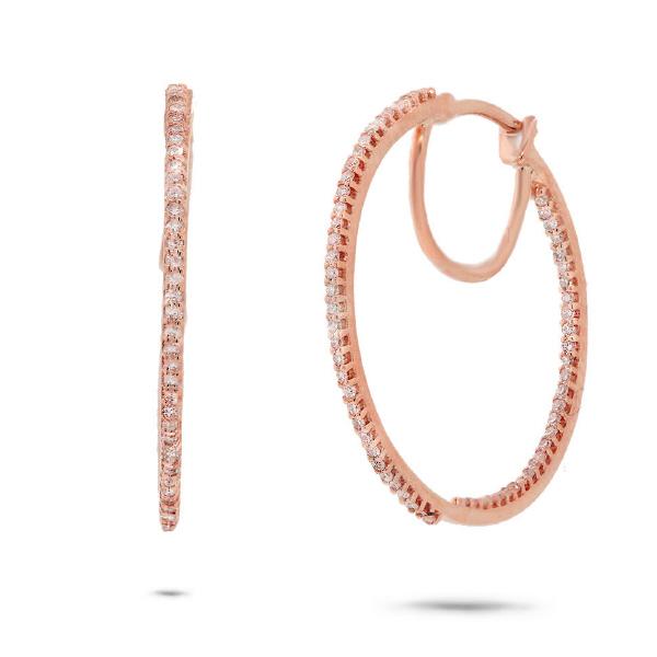 0.40ct 14k Rose Gold Diamond Hoop Earrings