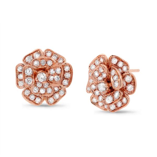 1.62ct 14k Rose Gold Diamond Flower Earrings