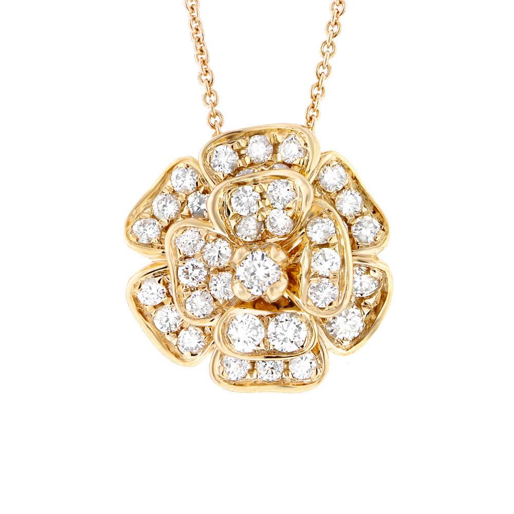 0.84ct 14k White Gold Diamond Flower Pendant Necklace