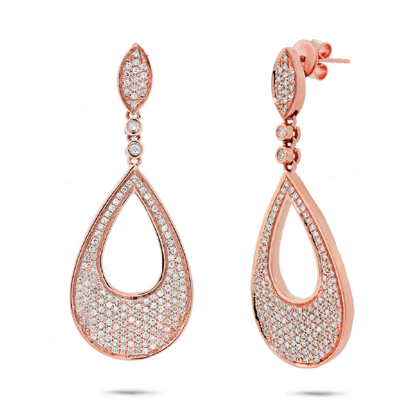 0.88ct 14k Rose Gold Diamond Pave Earrings