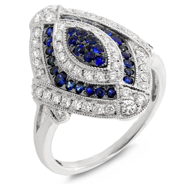 0.59ct Diamond & 0.41ct Blue Sapphire 14k White Gold Ring