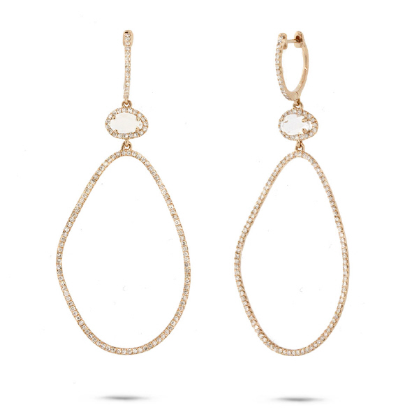 0.92ct Diamond & 0.69ct White Topaz 14k Yellow Gold Earrings