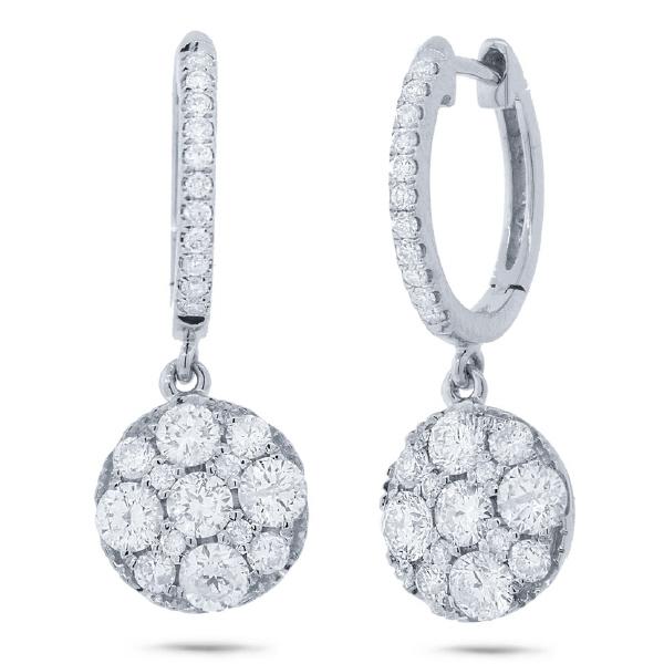 1.30ct 14k White Gold Diamond Cluster Earrings