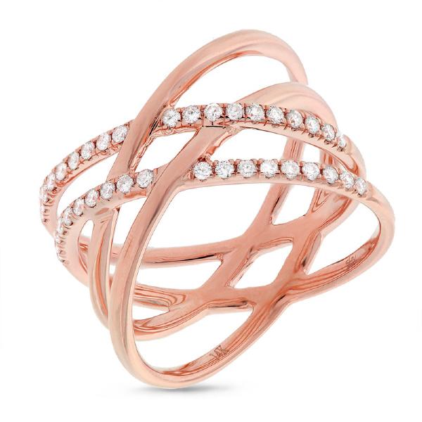 0.34ct 14k Rose Gold Diamond Bridge Ring