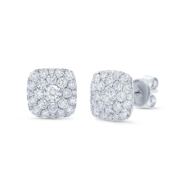 1.02ct 14k White Gold Diamond Cluster Earrings