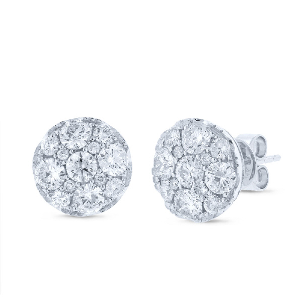 2.00ct 14k White Gold Diamond Cluster Earrings