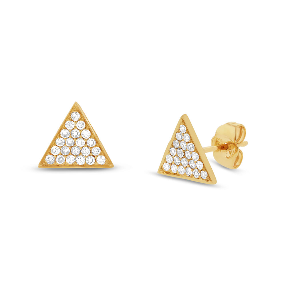 0.31ct 14k Yellow Gold Diamond Pave Triangle Earrings