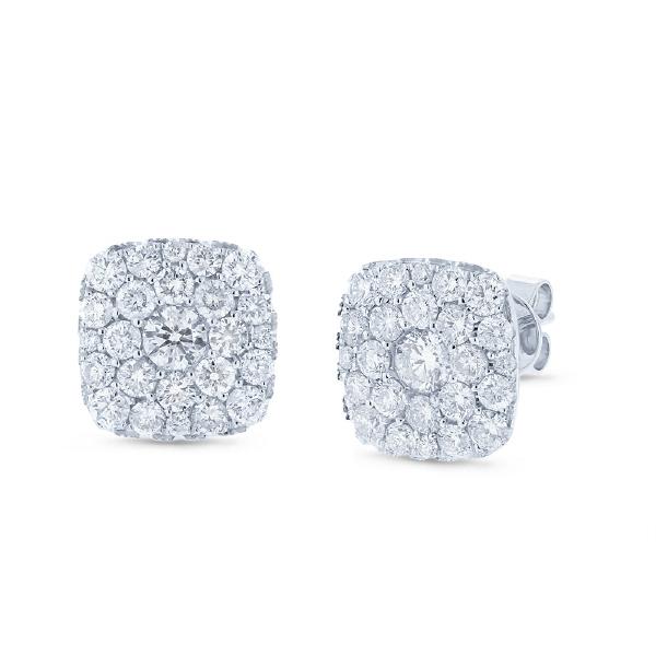1.95ct 14k White Gold Diamond Cluster Earrings