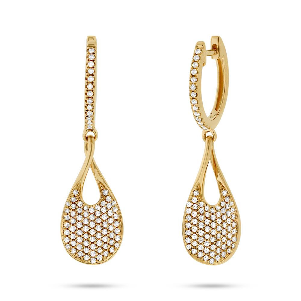 0.53ct 14k Yellow Gold Diamond Pave Earrings