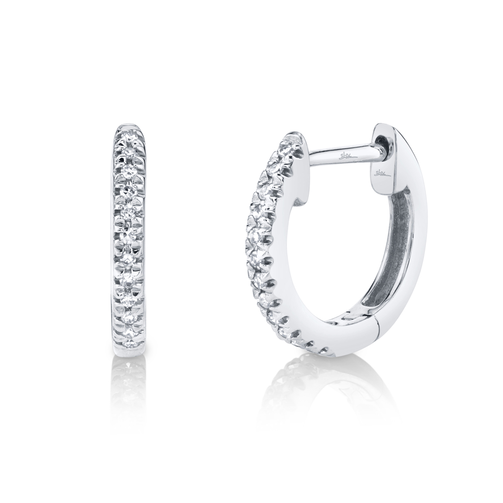 0.07ct 14k White Gold Diamond Huggie Earrings