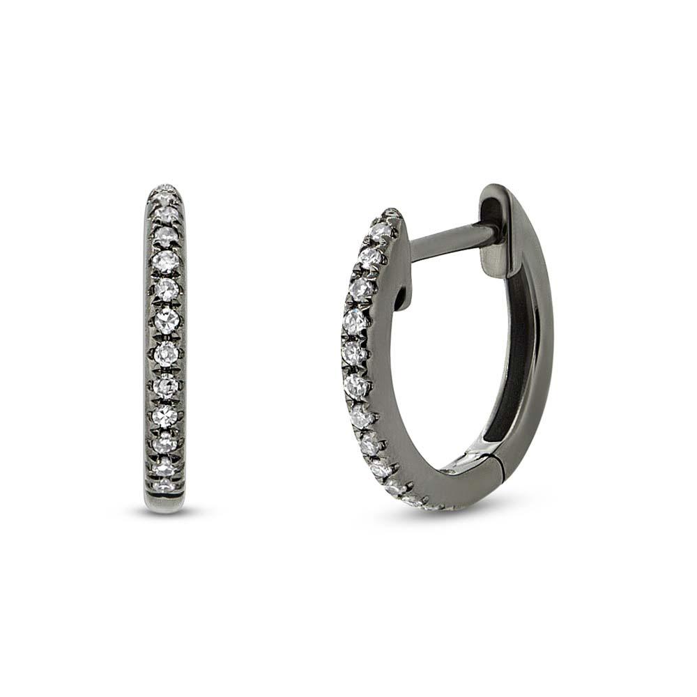 0 07ct 14k Black Rhodium Gold Diamond Huggie Earrings