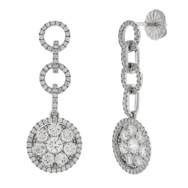 2.52ct 14k White Gold Diamond Dangle Earrings