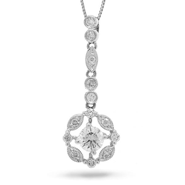 0.64ct 14k White Gold Round Brilliant Diamond Pendant Necklace