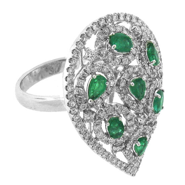 1.48ct Diamond & 1.07ct Emerald 14k White Gold Ring