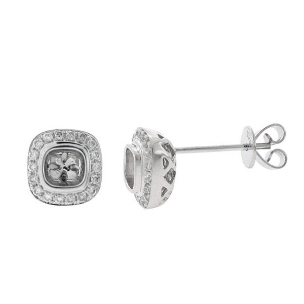 0.33ct 14k White Gold Diamond Semi-mount Earrings