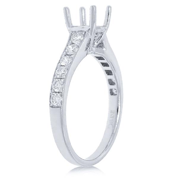 0.48ct 14k White Gold Diamond Semi-mount Ring