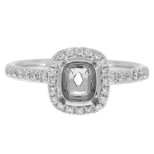 0.22ct 14k White Gold Diamond Semi-mount Ring