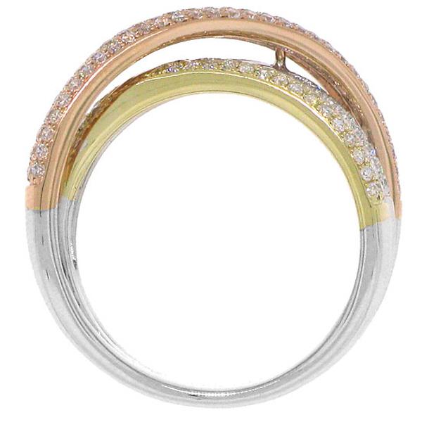 1.00ct 14k Three-tone Diamond Bridge Lady's Ring