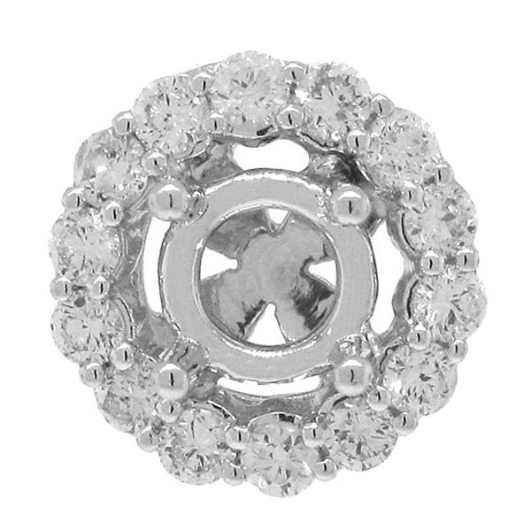 0.45ct 18k White Gold Diamond Semi-mount Pendant Necklace