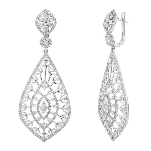 4.14ct 14k White Gold Diamond Earrings