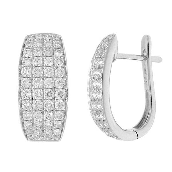 1.16ct 14k White Gold Diamond Pave Huggie Earrings