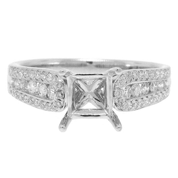 0.42ct 18k White Gold Diamond Semi-mount Ring