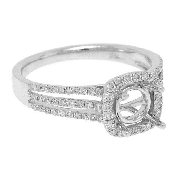 0.41ct 18k White Gold Diamond Semi-mount Ring