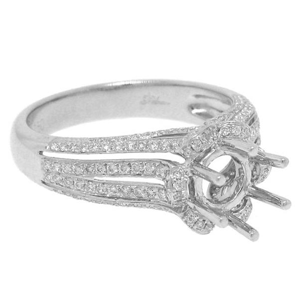 0.58ct 18k White Gold Diamond Semi-mount Ring