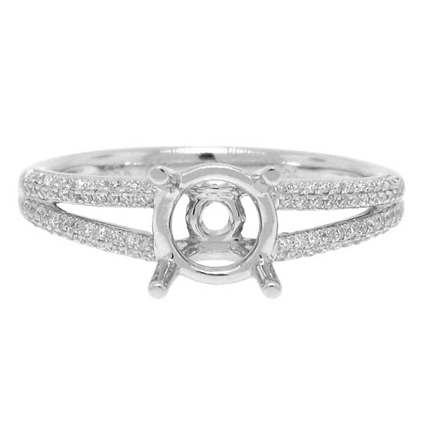 0.19ct 18k White Gold Diamond Semi-mount Ring