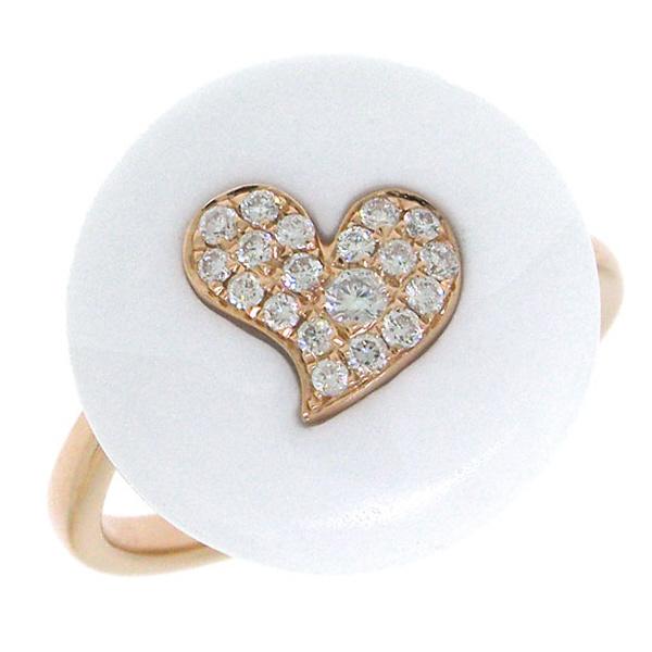 0.16ct 14k Rose Gold Diamond & White Agate Heart Ring