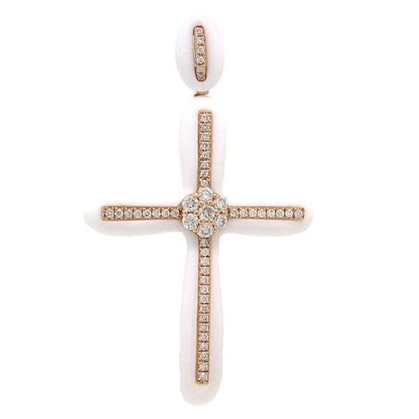 0.37ct 14k Rose Gold Diamond & White Agate Cross Pendant Necklace