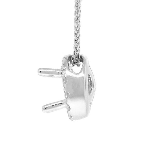 0.21ct 14k White Gold Diamond Semi-mount Pendant Necklace