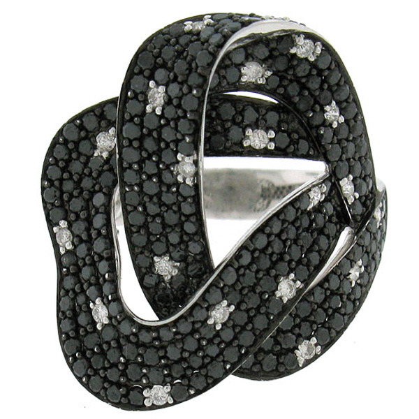 2.75ct 14k White Gold Black & White Diamond Ring