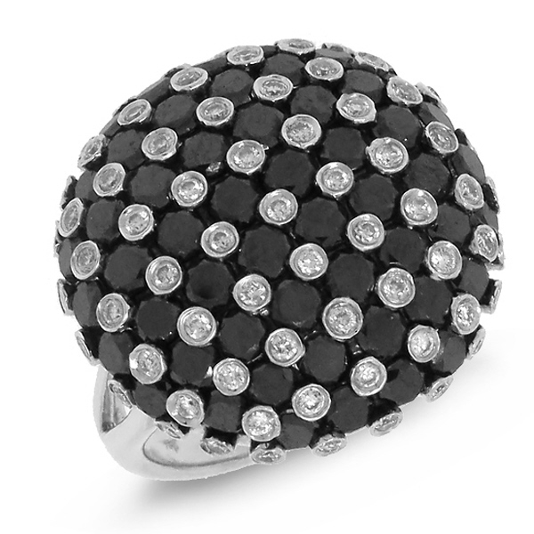 3.80ct 14k White Gold Black & White Diamond Ring