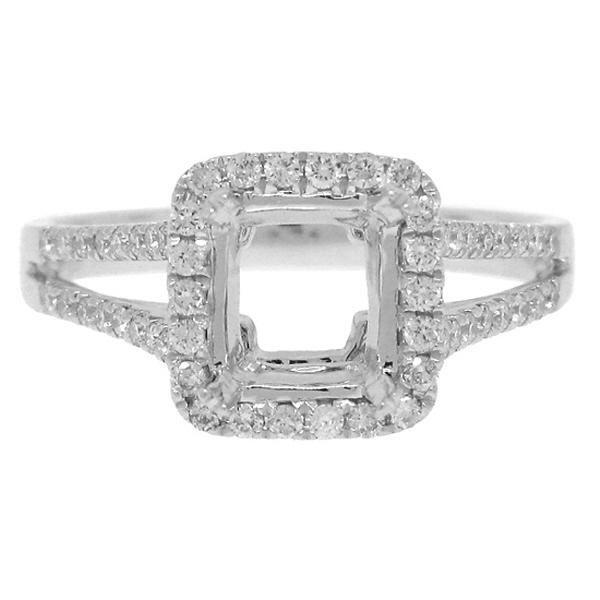 0.46ct 14k White Gold Diamond Semi-mount Ring