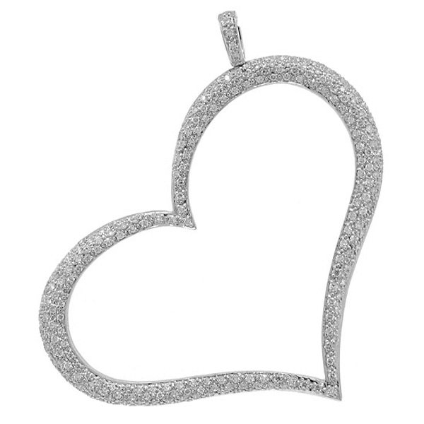 1.60ct 14k White Gold Diamond Heart Pendant Necklace