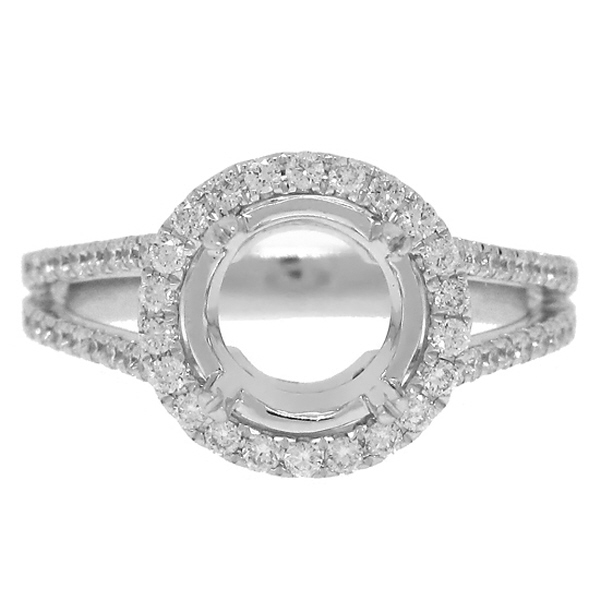 0.68ct 14k White Gold Diamond Semi-mount Ring