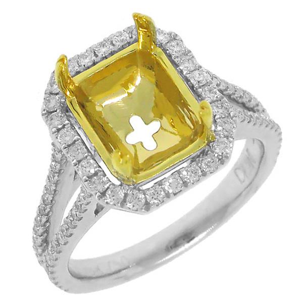 0.59ct 18k Two-tone Gold Diamond Semi-mount Ring