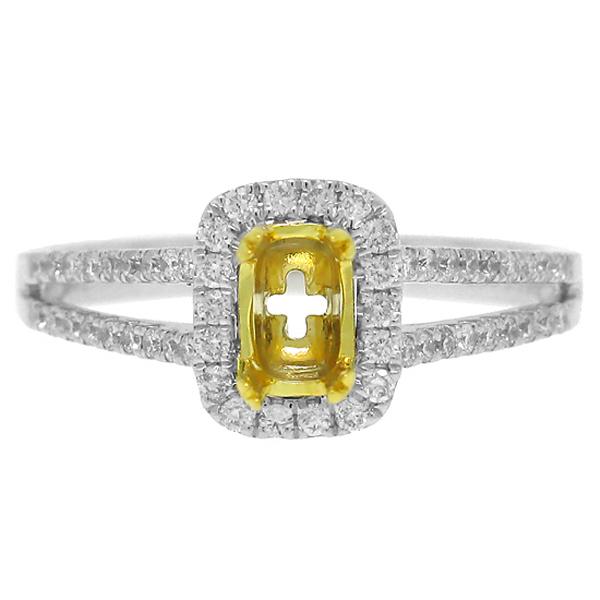 0.36ct 14k Two-tone Gold Diamond Semi-mount Ring