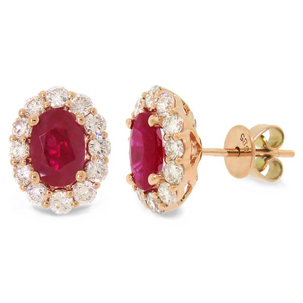 0.92ct Diamond & 2.02ct Heat Treated Ruby 14k Rose Gold Earrings