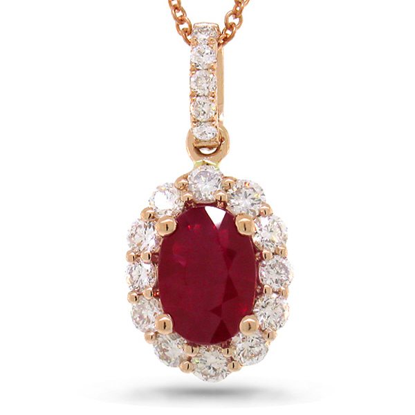 0.50ct Diamond & 1.05ct Heat Treated Ruby 14k Rose Gold Pendant Necklace