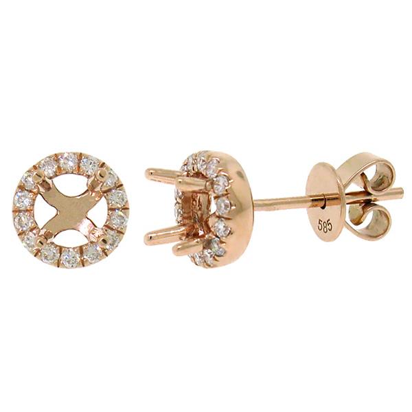 0.21ct 14k Rose Gold Diamond Semi-mount Earrings For 0.30ct Center