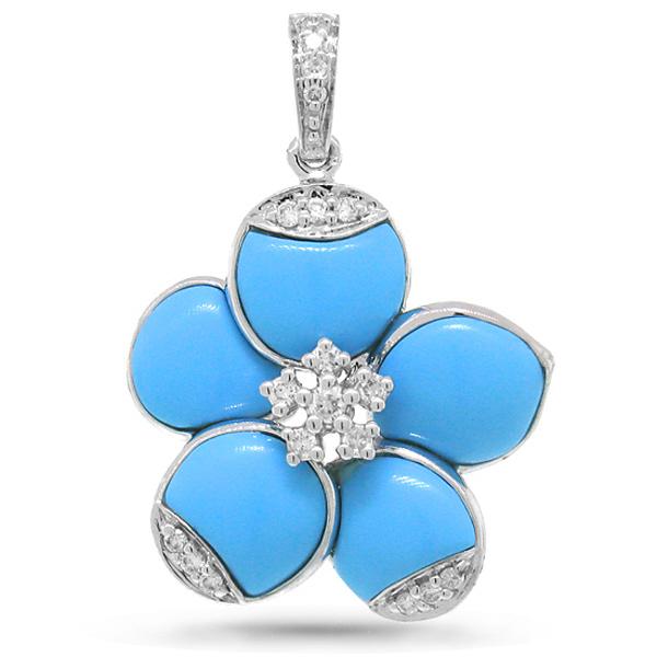 0.15ct 14k White Gold Diamond & Composite Turquoise Flower Pendant Necklace
