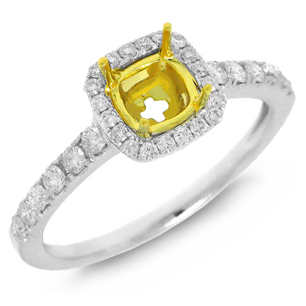0.37ct 14k Two-tone Gold Diamond Semi-mount Ring