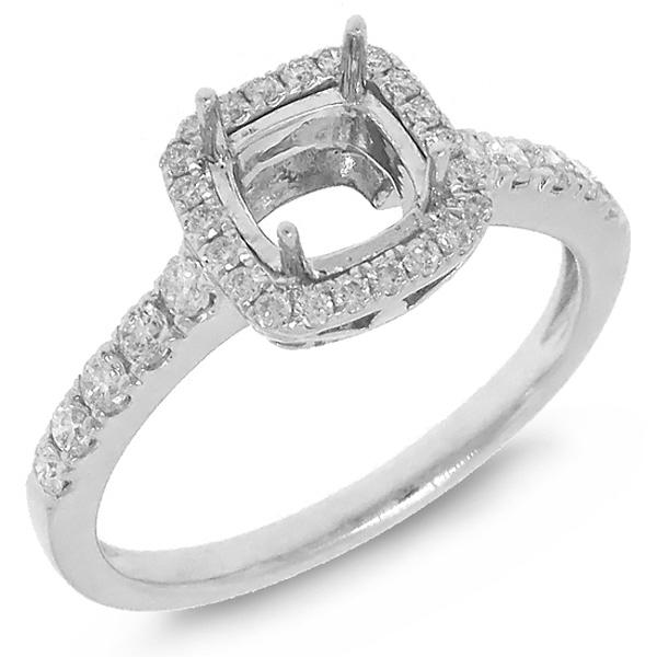 0.37ct 14k White Gold Diamond Semi-mount Ring