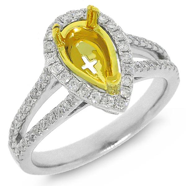 0.51ct 14k Two-tone Gold Diamond Semi-mount Ring