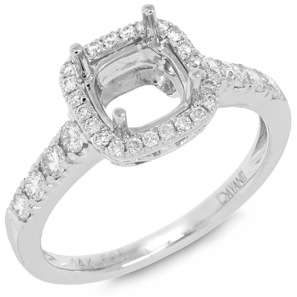 0.48ct 14k White Gold Diamond Semi-mount Ring
